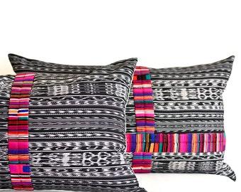 Residential decor. Interior decor. Home decoration. Unique. Arts and crafts. Made in Guatemala. Ethnic. Boho pillow. Boho cushion. Black.