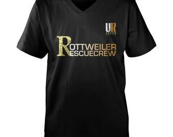 URBAN ROTTIE© Guys Rottweiler Rescue Crew V-Neck T-shirt,rottweiler t-shirt,rottweiler tees,rottie tees,rottweiler shirts,rottweiler fans.