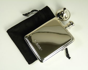 Solid Silver - HIP FLASK and funnel - large size - boxed