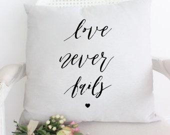 Love Never Fails Throw Pillow by Cadeau & Co.  | Quote Pillow | Wedding Pillow | 16x16 Pillow | Decorative Pillow | Love Quotes Pillow |