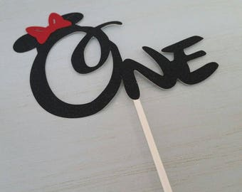 """1st Birthday """"one"""" Minnie Mouse Black & Red Cake topper glitter"""