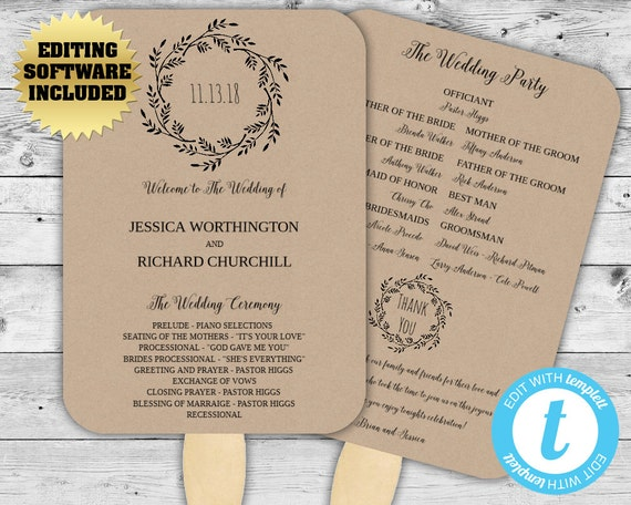 wedding program template kraft paper wedding program fan