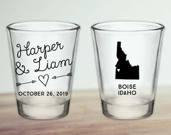 Custom Idaho Wedding Favor Shot Glasses