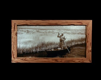 Fishing for bait in a Pirogue near Golden Meadow Louisiana, canvas print in a pecky cypress wood frame