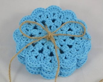 Crochet Coasters Set in sky blue