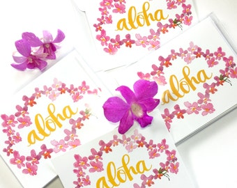 Aloha Hawaii Flat Note Cards  - Tropical Orchid Lei