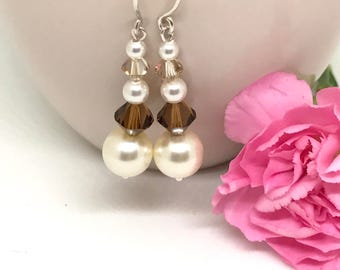 Pearl & Crystal Earrings, Sterling Silver, Cream, Brown, Gift For Her