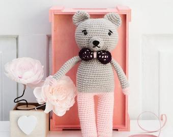 Crochet toys- amigurumi- crochet pink bear- gift for girl- gift for boy- baby shower present- christening present