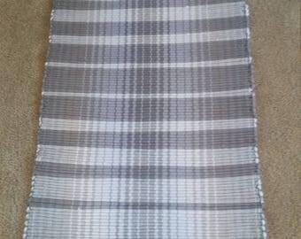 Handwoven Cotton Rag Rug - Gray, White and Taupe