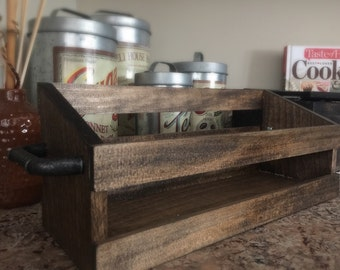Farmhouse Dark Wooden Crate With Rustic Handles For Centerpieces