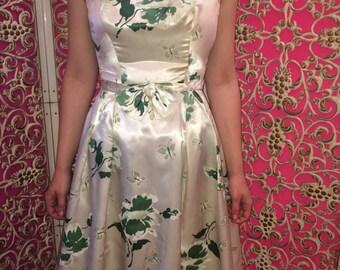 Vintage 1960s Satin Garden Party Dress