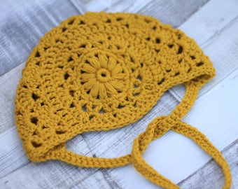 Crochet Bonnet, Crochet Baby Bonnet, Cotton Baby Bonnet, Mustard Baby Bonnet, Crochet Hat, Gifts for Baby, Baby Shower Gift