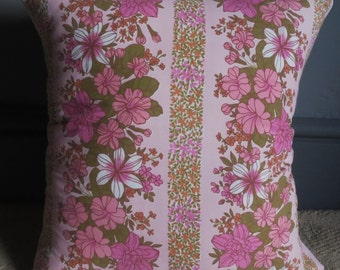 Pink flower handmade vintage cushion covers lounge sofa couch home 70's livingroom gift recycled fabric repurposed into a new item