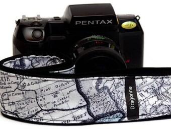 Handmade strap/ World map pattern/ Camera strap/Popular/Custom/ Gift idea/ Camera accessory/ Adjustable strap/ Gift friend/ Travel/ Traveler