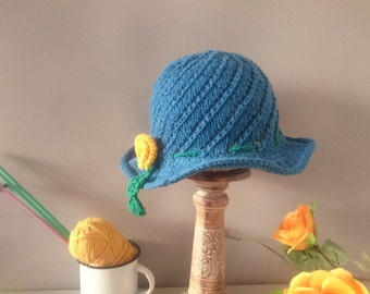 Sun hat knitting little girls brimmed cloche knitting pattern pdf instant download
