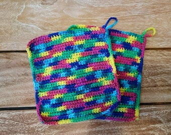 Set of 2 - Crochet Colorful Dishcloth Kitchen Hotpads Teapot Coasters