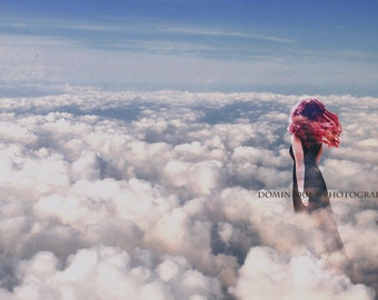 Surreal Photography Print, Fine Art Photography, Dreamy Home Decor, Self Portrait Art, Girl In Clouds, Empowering Portrait Conceptual Art