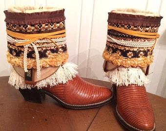 Reworked vintage boho cowboy boots - size 5.5