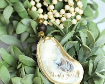 Oyster Shell beaded necklace