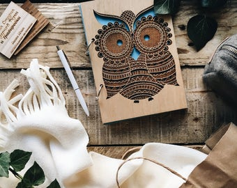 Wooden Notebok, Wooden Owl, Notebook with owl, Sketchbook, Note, Made of wood