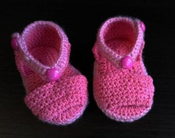 Hand crocheted, baby bootie sandals.