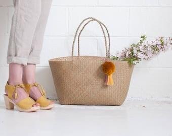 Xinh Weekender - Mustard - Seagrass Beach Bag
