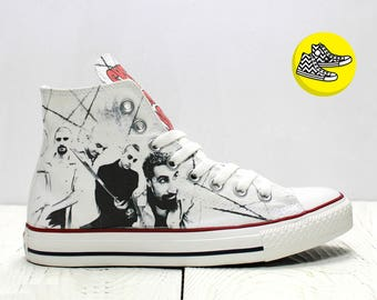 System of a Down customized converse all star sneakers rock band inspired