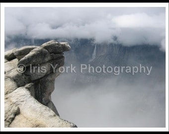 Yosemite Cliff in Fog, Yosemite Falls, Clouds, Landscape Photo, Nature Print, Wall Art