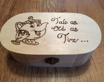 Beauty and the Beast Wooden Trinket / Jewellery Box. Wood Burnt / Pyrography, can be personalised, Mrs Potts and Chip