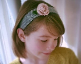 Knitted Rose Headband, Moss-Stitch Headband, Rose Hairband, Woollen Hairband, Alice band, Flower Hair accessory