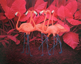 Flamingos Canvas Print of oil painting/Mladen Vracaric