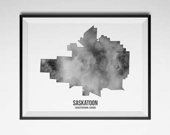 SASKATOON MAP, Watercolour Map, Prairies Print, Saskatoon Print, Canada Print, Saskatoon, Saskatchewan Print, Wall Art, Home Decor