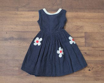60s Kids Dress // Vintage Floral Polka Dot Toddler Dress Girls - 2T 3T