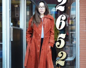 1970s Burnt Orange Long Soft Suede Leather Trench Pea Coat, 70s Suede Coat