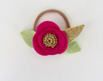 GOLDEN LIPSTICK// single flower headband// felt flower