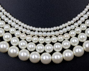 High Quality Glass Pearl Beads, Ivory/White 3mm 4mm 6mm 8mm 10mm Full Strand 16 inches, Glass Beads, Pearl Beads, Ivory Pearl, White Pearl