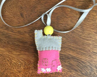 Pink House Pendant with Yellow Bead