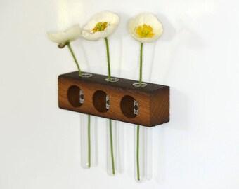 Refrigerator vase, magnetic vase, set of 3, Oak