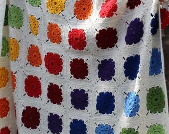 Made to Order- Crochet blanket, Rainbow blanket, afghan, lap blanket, throw blanket, unisex blanket, Granny Square blanket, girls blanket
