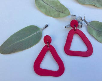 Polymer Clay Red Sparkle Triangle Drop Earrings
