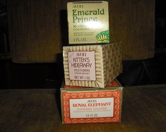 AVON  Emerald Prince(frog),Kitten's Hideaway, and Royal Elephant.