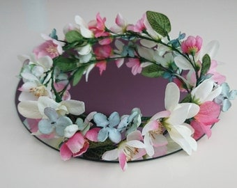 Blush artificial flower crown, wreath, halo, weddings and bridesmaid.