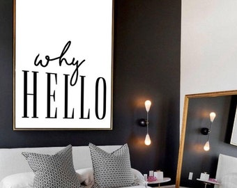 Why Hello Print , Minimal Wall Art, Home Decor, Gift for Her, Black & White, A4, A3, Poster, Prints for bedroom, Monochrome