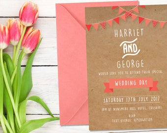 The Bunting Wedding Collection, Wedding Invitation, Wedding Day, Newly Weds, Wedding Invite