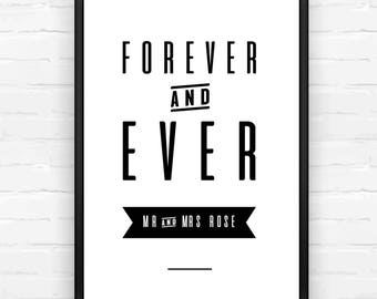 Forever and Ever Personalised Wedding Print, Wedding Gift, Newly Weds, Gifts for the Couple, Black & White