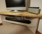 Corner TV Unit  Strong Sturdy and Stylish  Pebble Body with Natural Wood Top