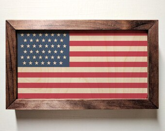 United States of America Flag Wooden Sign
