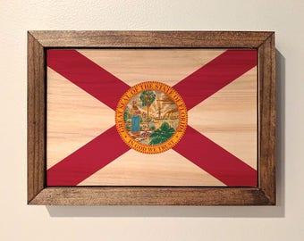 Florida State Flag Wooden Sign