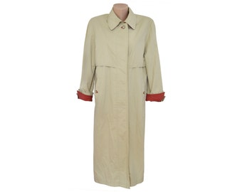 Vintage Valmeline long trench coat women beige 96% cotton 4 polyuretan