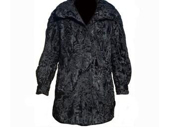 Vintage Fur coat Astrakhan Persian Lamb Swakara black women Astragan